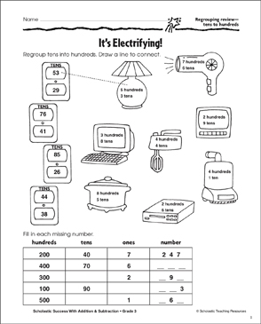 It's Electrifying! (Regrouping Tens to Hundreds) - Printable Worksheet