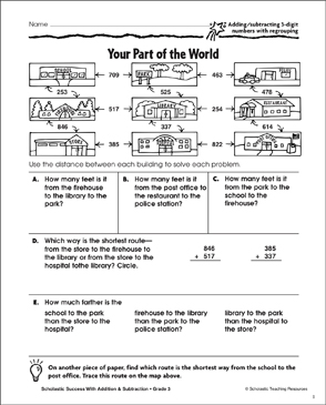 Your Part of the World (+,-/3-Digits/Regrouping) - Printable Worksheet