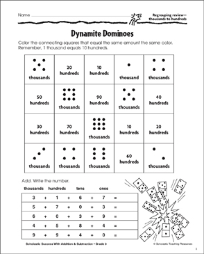 Dynamite Dominoes (Regroup Thousands to Hundreds) - Printable Worksheet