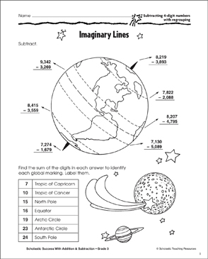 Imaginary Lines (Subtract 4-Digits/Regrouping) - Printable Worksheet