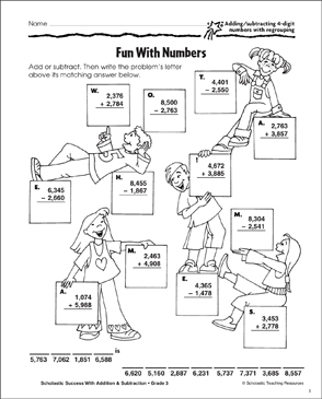 Fun With Numbers (Add, Subtract/4-Digits/Regroup) - Printable Worksheet