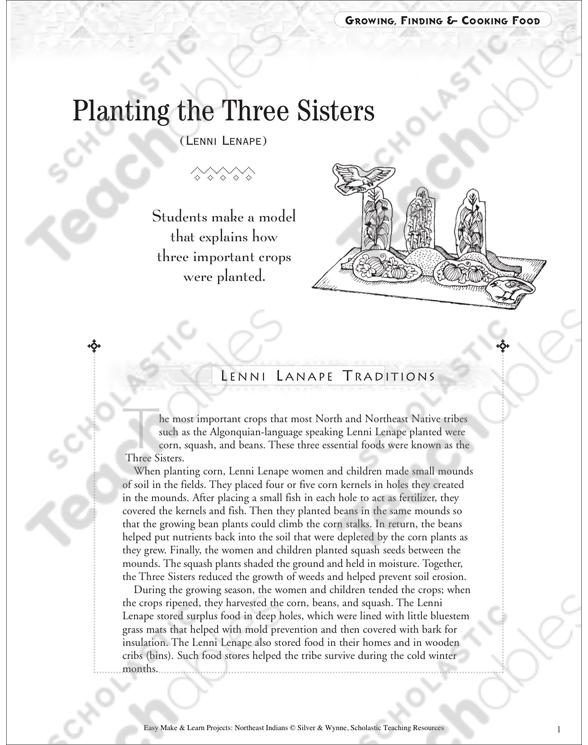 Planting The Three Sisters Lenni Lenape Food Printable Lesson