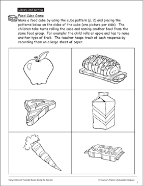 Food Cube Game: Health and Nutrition | Printable Games and
