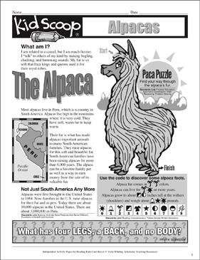 The Alpaca: Independent Reading Activity Pages | Printable ...