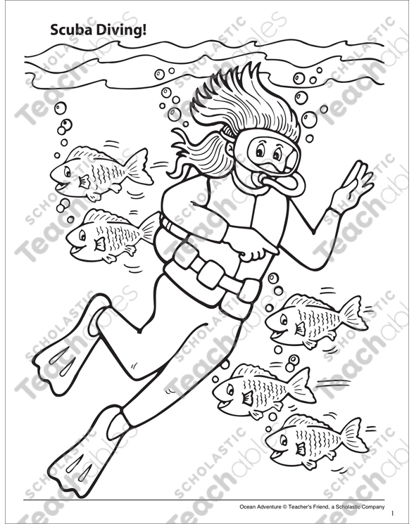 Scuba Diving Ocean Adventure Coloring Page Printable Coloring Pages