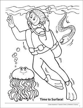 Scuba Diving Ocean Adventure Coloring Page