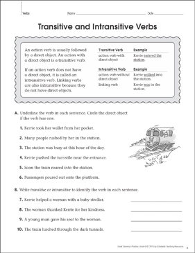 Transitive/Intransitive Verbs: Grammar Practice   Printable Skills ...
