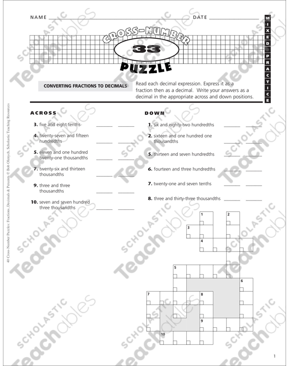 Mixed Practice: Cross-Number Puzzle #33 | Printable Number