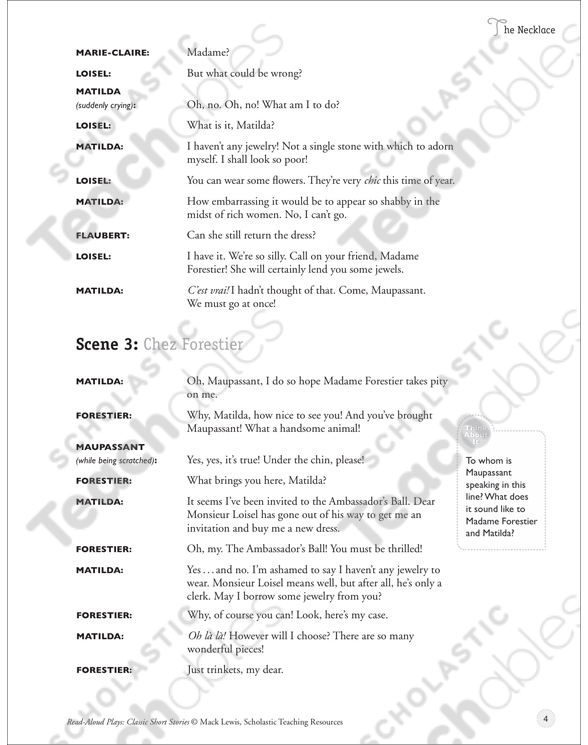 The Necklace Read Aloud Play Printable Texts And Skills Sheets