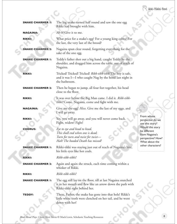 Rikki Tikki Tavi Read Aloud Play Printable Texts