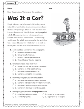 Was It a Car? Close Reading Passage | Printable Skills ...