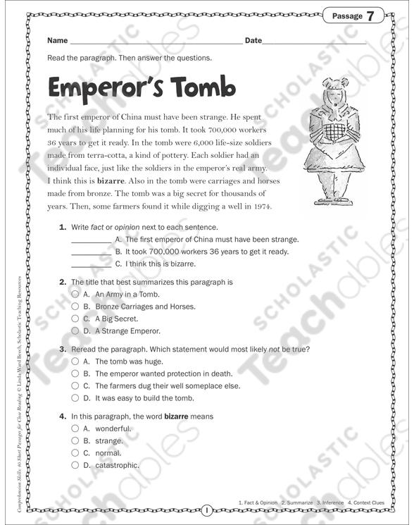 Emperor's Tomb: Close Reading Passage | Printable Skills