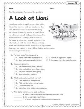 A Look At Lions Close Reading Passage Printable Skills