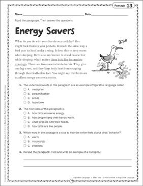 Energy Savers: Close Reading Passage | Printable Skills Sheets and Texts