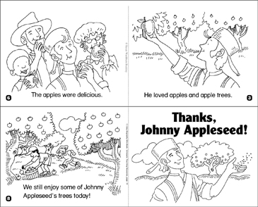 graphic regarding Johnny Appleseed Printable Story identified as Because of, Johnny Appleseed! Printable Mini-Textbooks