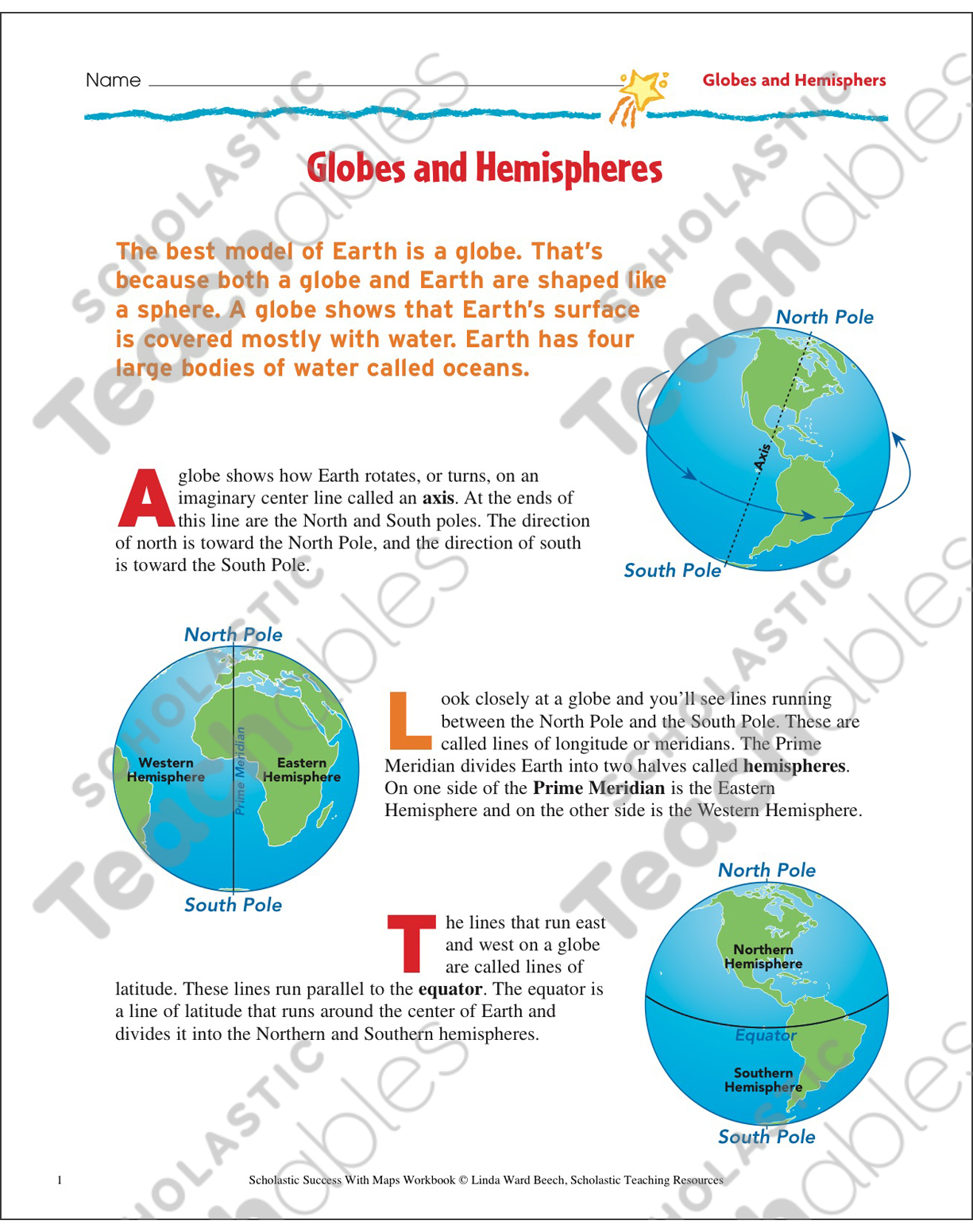 Globes and hemispheres map skills printable maps and skills sheets see inside image gumiabroncs Image collections