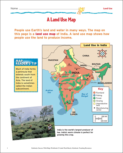 Understanding landforms map skills printable maps and skills sheets a land use map map skills gumiabroncs Image collections
