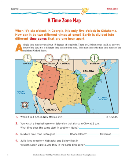 picture relating to Printable Time Zone Map known as A Year Zone Map: Map Expertise Printable Maps and Competencies Sheets