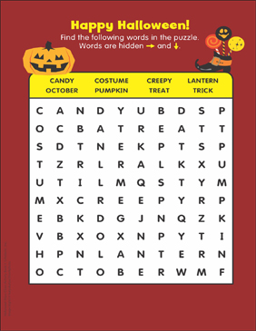 graphic about Halloween Wordsearch Printable identified as Joyful Halloween: Term Seem Printable Techniques Sheets and