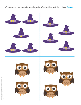 image about Witch Hat Printable identified as Witch Hats and Owls: Significantly less Than Printable Competencies Sheets