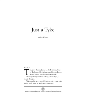 Just a Tyke, by Joe White (Theme): Spotlight On Literary Elements - Printable Worksheet