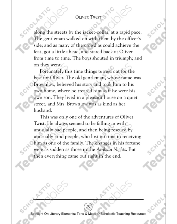 Oliver Twist By Charles Dickens A Retelling Of The Story Tone Mood Spotlight On Literary Elements Printable Texts Skills Sheets