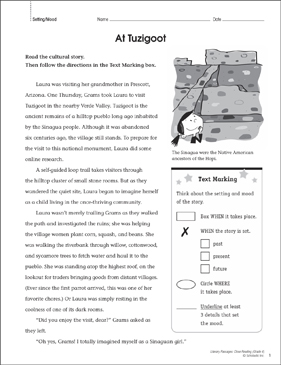 image regarding Printable Close Reading Passages for 4th Grade called At Tuzigoot: Stop Studying Web page Printable Lesson Courses