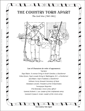 The Country Torn Apart (The Civil War, 1861-1865): Play - Printable Worksheet