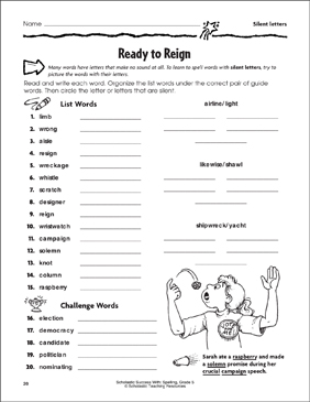 Ready to Reign (Silent Letters) - Printable Worksheet