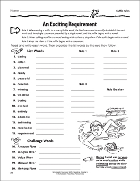 An Exciting Requirement (Suffix Rules) - Printable Worksheet