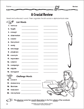 A Crucial Review (schwa sound, silent letters, /f/ sound, suffixes) - Printable Worksheet