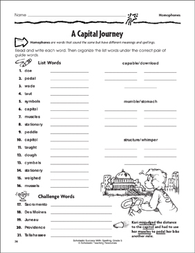 A Capital Journey (Homophones) - Printable Worksheet
