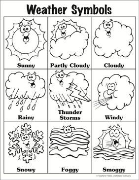 weather symbols printable charts signs and skills sheets. Black Bedroom Furniture Sets. Home Design Ideas