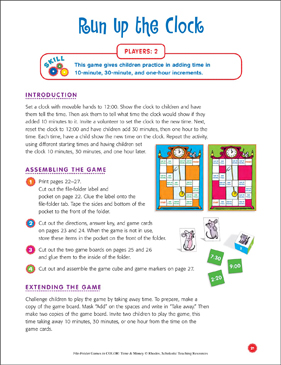 File-Folder Game - Time: Run Up the Clock (adding time in 10-minute, 30-minute, and one-hour increments) - Printable Worksheet