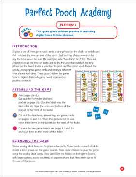 File-Folder Game - Time: Perfect Pooch Academy (matching times to time phrases) - Printable Worksheet