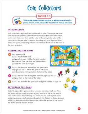 File-Folder Game - Money: Coin Collectors (adding coins) - Printable Worksheet