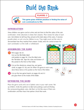 File-Folder Game - Money: Build the Bank (coin combinations to 99 cents) - Printable Worksheet