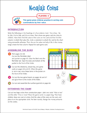 File-Folder Game - Money: Koala's Coins (sorting coin combinations by value) - Printable Worksheet