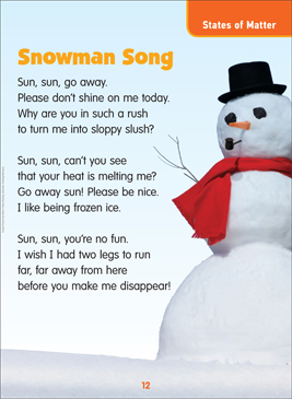 Snowman Song Science Poem Printable Lesson Plans Ideas And Texts
