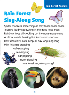 Rain Forest Sing-Along Song: Science Poem - Printable Worksheet