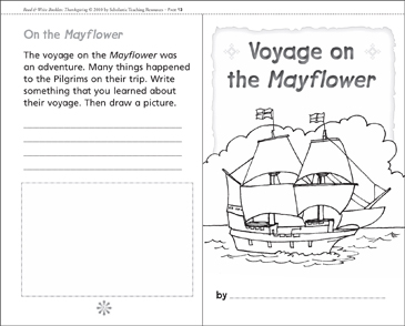 Voyage on the Mayflower: A Thanksgiving Mini-Book - Printable Worksheet