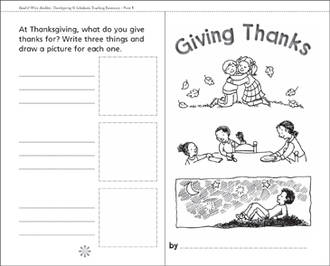 Giving Thanks: A Thanksgiving Mini-Book - Printable Worksheet