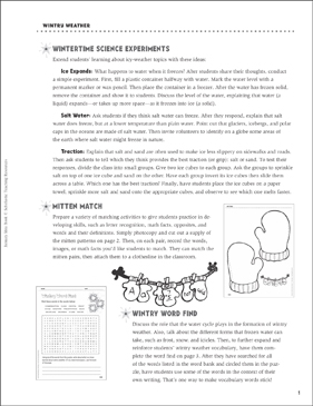 Winter Experiments and Activities - Printable Worksheet