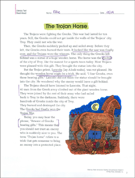 The Trojan Horse: Reading Homework - Printable Worksheet