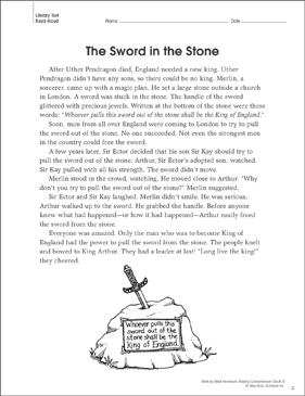 Arthurian Legends (Paired Texts): Reading Homework - Printable Worksheet