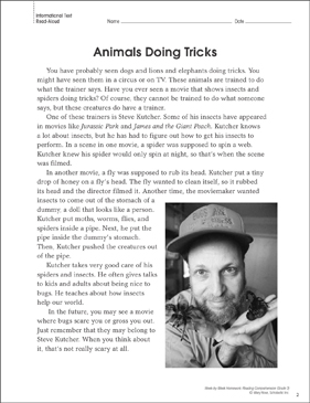 Animals Doing Tricks: Reading Homework - Printable Worksheet