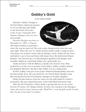Gabby's Gold: Reading Homework - Printable Worksheet