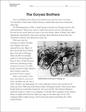 The Duryea Brothers: Reading Homework - Printable Worksheet