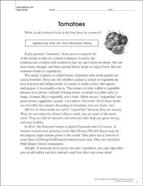 Tomatoes: Reading Homework - Printable Worksheet