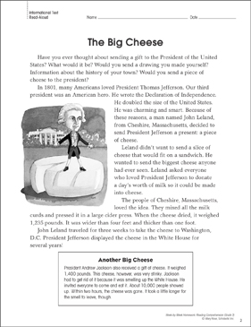The Big Cheese: Reading Homework - Printable Worksheet
